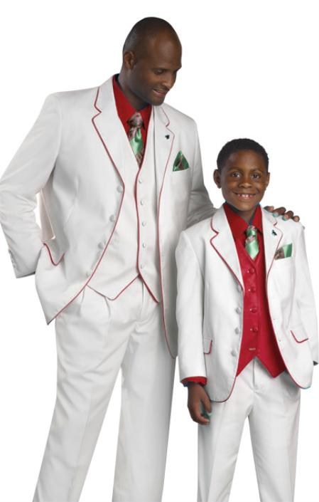 MensUSA High Quality 4 Button 3PC White Red Suit at Sears.com