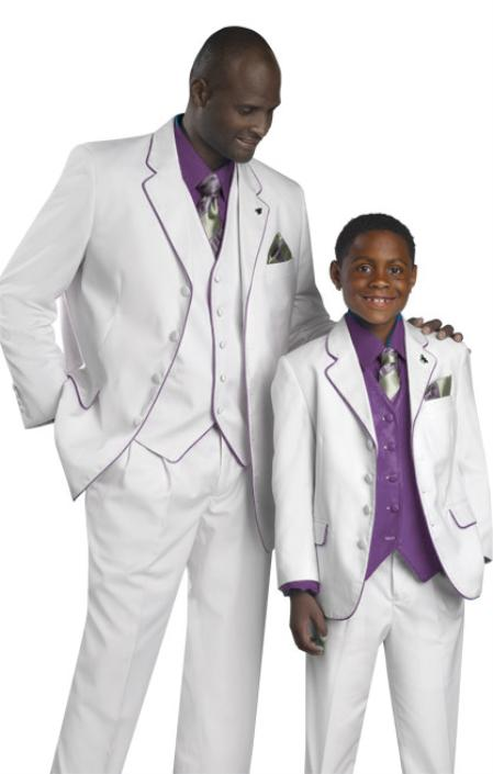 SKU#CPR92 High Quality 2 or 3 Button style 3PC Cream-Purple Suit $595