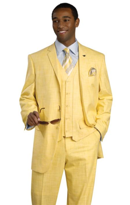 SKU#BNB72 High Quality 3PC 3 Button Banana Color Suit $175