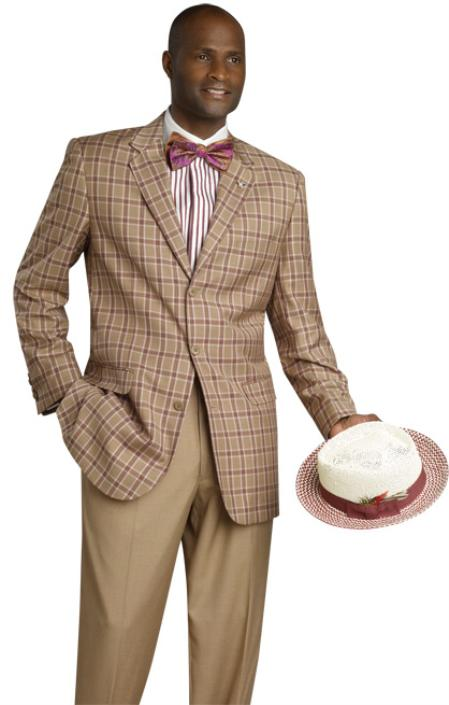 MensUSA.com Modern High Quality 3 Button 3PC Suit Tan(Exchange only policy) at Sears.com