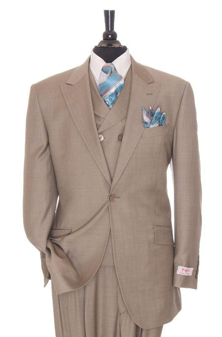SKU#TNJ78 Exclusive 3 Piece Taupe Suit $795