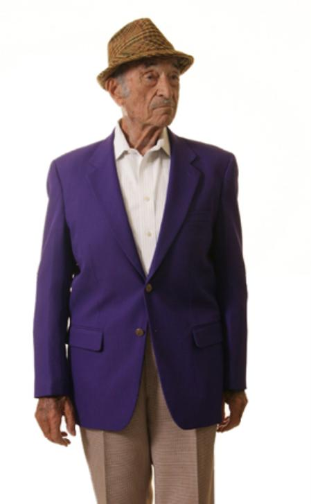 SKU#PLE91 Single Breasted 2 Button Solid Purple Blazer