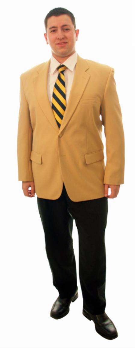 1970s Men's Suits History | Sport Coats & Tuxedos Single Breasted 2 Button Solid Camel Blazer $139.00 AT vintagedancer.com