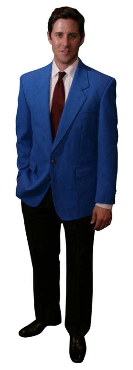1950s Style Mens Suits | 50s Suits Single Breasted 2 Button Solid Royal Blazer $175.00 AT vintagedancer.com