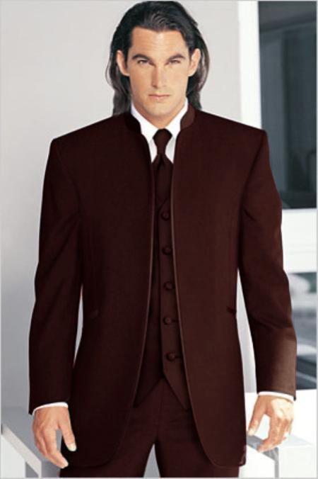 "SKU#DBW82 Mirage Tuxedo Mandarin Collar Dark Brown No Buttons Pre Order Collection ""Delivery in 30 days"" $795"