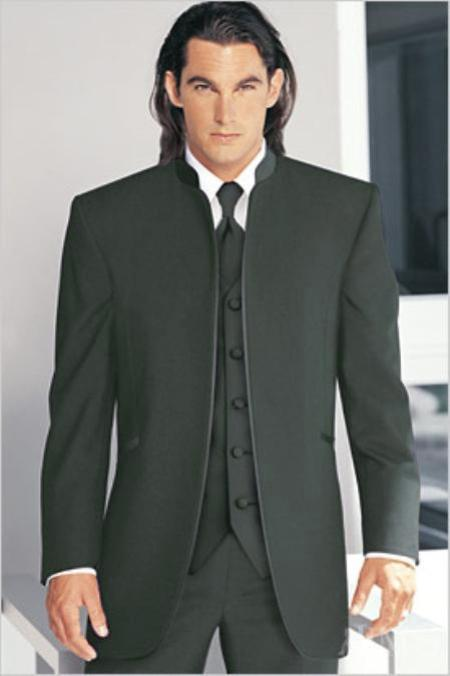 "SKU#GHY68 Mirage Tuxedo Mandarin Collar Dark Gray No Buttons Pre Order Collection ""Delivery in 30 days"" $695"