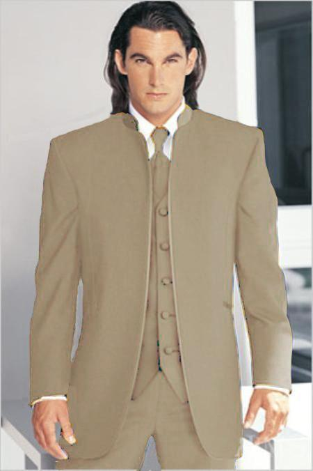 "SKU#TAN72 Mirage Tuxedo Mandarin Collar Tan No Buttons Pre Order Collection ""Delivery in 30 days"" $795"