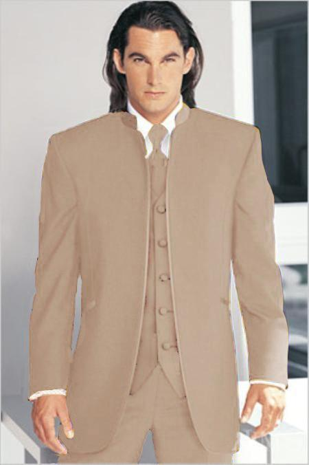 "SKU#SND69 Mirage Tuxedo Mandarin Collar Sand Tan Beige No Buttons Pre Order Collection ""Delivery in 30 days"" $795"
