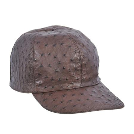 SKU#GVS29 Baseball Brown Genuine Ostrich Cap