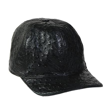 SKU#BLK212 Black Genuine Ostrich Cap $165