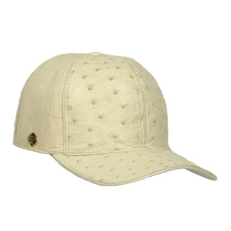 SKU#UYT72 Baseball Cream ~ Ivory ~ Off White Genuine Ostrich Cap