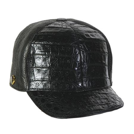 SKU#DEV23 Black Genuine Hornback Cap $165