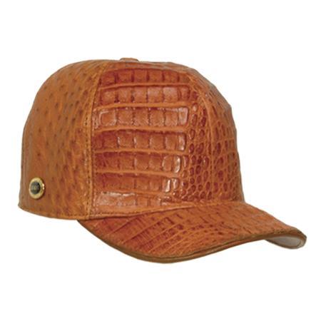SKU#CNC722 Baseball Cognac Genuine Hornback Cap