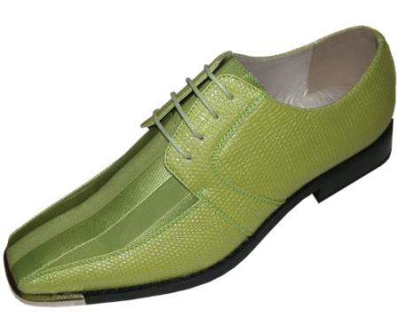 SKU#LMC821 Mens Lime Classic Oxford Striped Satin Dress Shoes $125