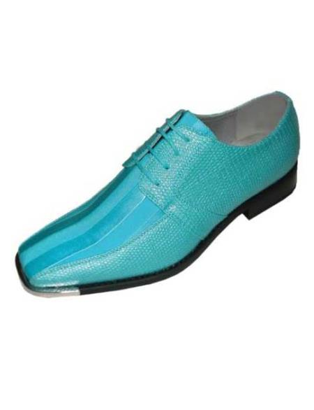 SKU#TRU712 Mens turquoise ~ Light Blue Stage Party Classic Oxford Striped Satin Dress Shoes