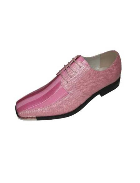 SKU#PLK78 Mens Pink Classic Oxford Striped Satin Dress Shoes