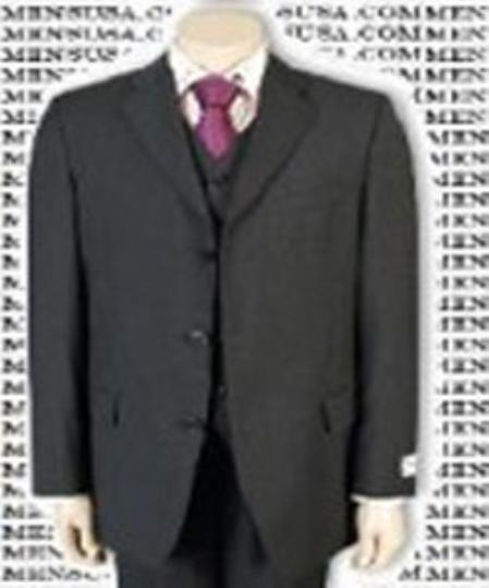 SKU#ANA303300A Mens 3 Piece Charcoal Gray Vested three piece suit Fine Quality Poly~Rayon (Wool Feel) 3 Button three piece suit