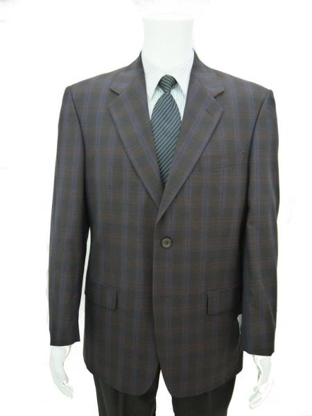 SKU#BHN76 Richard Harris Italian Style 100% Wool 2 Btn Suit Jacket Dark Burgundy ~ Maroon ~ Wine Color Check $139