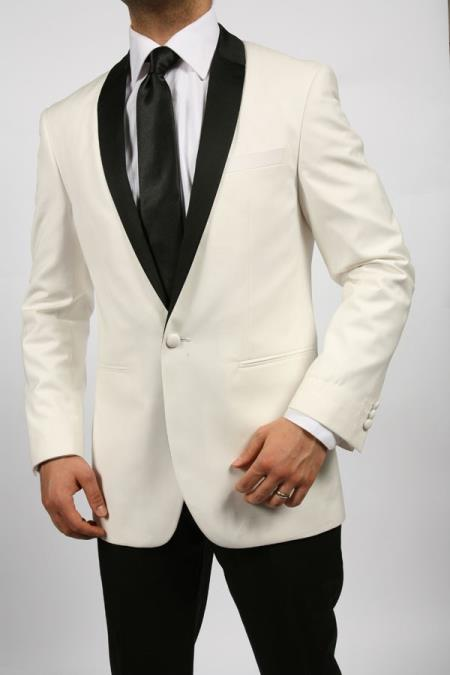 SKU#EXW81 Off White~Ivory~Cream & Black Shawl Tuxedo $595