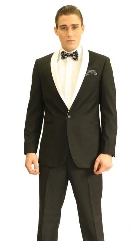 SKU#XDE35 Black Shawl Tuxedo