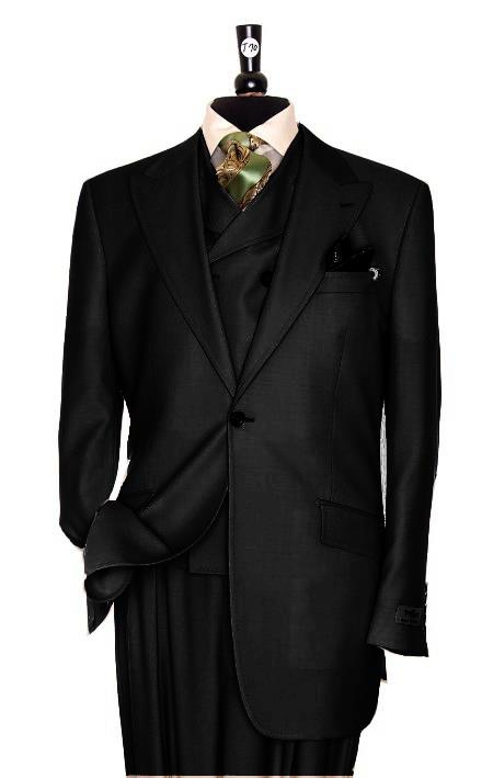 SKU#CH3920 Exclusive 3 Piece Soild Black Suit $795