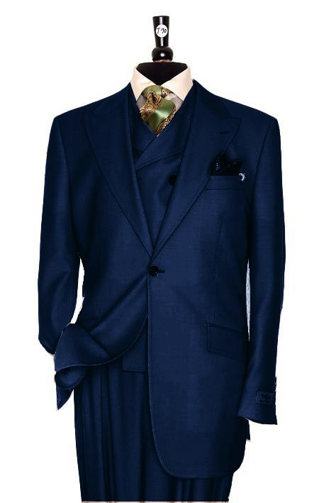 SKU#KR2391 Exclusive 3 Piece Dark Navy Blue Suit $795