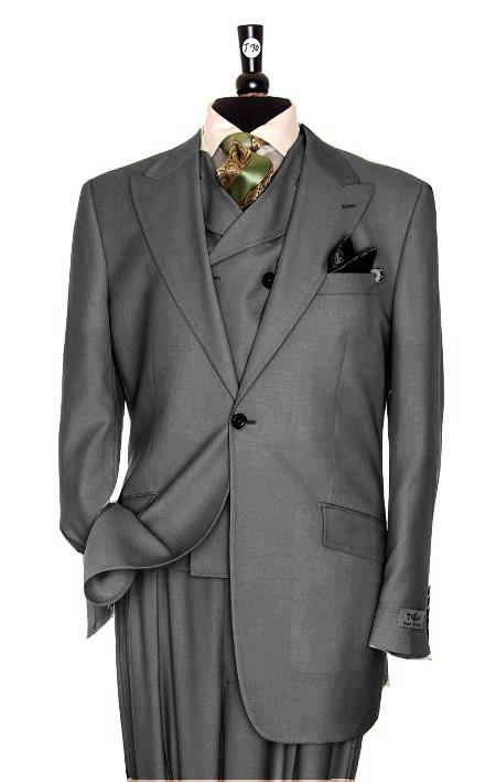SKU#LH2290 Exclusive 3 Piece Dark Grey Suit $795