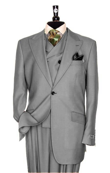 SKU#EG4376 Exclusive 3 Piece Light Grey Suit $795