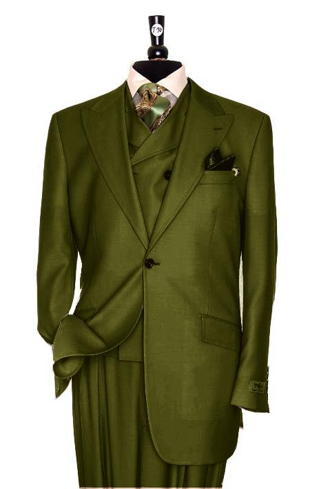 SKU#RS2928 Exclusive 3 Piece Olive Green Suit $795