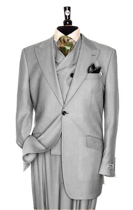 SKU#HD4391 Exclusive 3 Piece Silver Suit $795