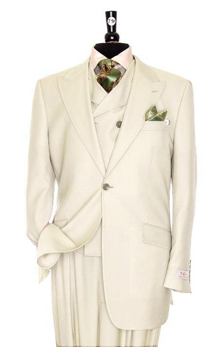 SKU#RV8288 Exclusive 3 Piece Ivory Suit $795
