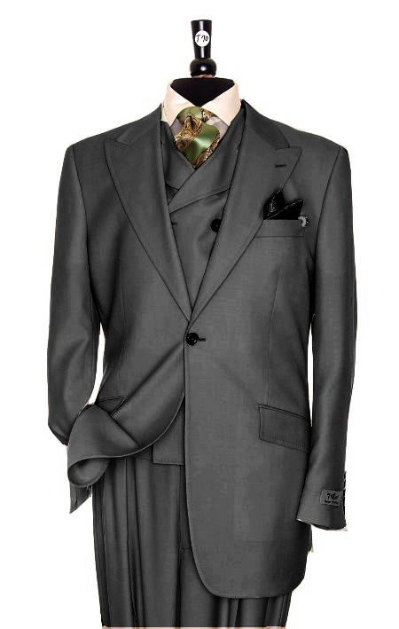 SKU#BQ7399 Exclusive 3 Piece Charcoal Gray Suit $795