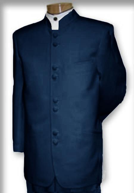 Quality Mandarin Collar Navy