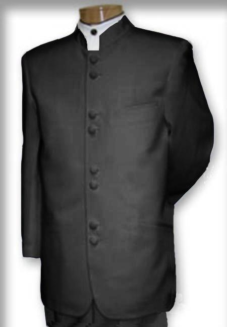 MensUSA Best Quality Mandarin Collar Charcoal Grey Mandarin Suit at Sears.com