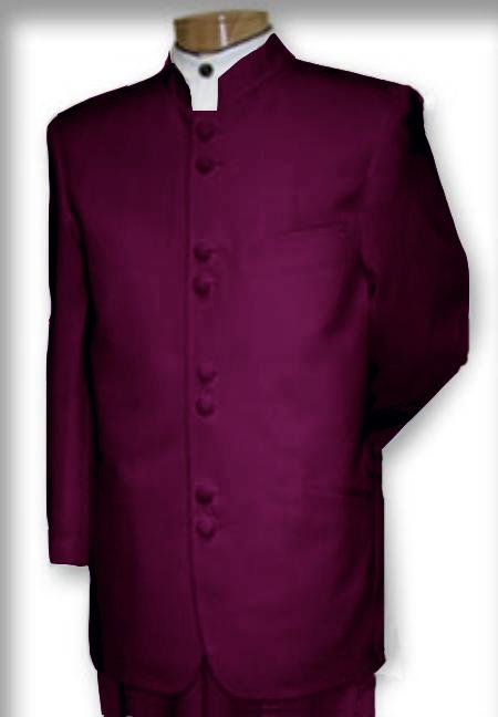 SKU#ZT7392 Best Quality Mandarin Collar Burgundy ~ Maroon ~ Wine Color Mandarin Suit $149