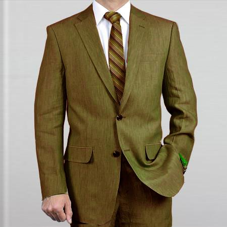 SKU#JWQ6 Elegant, Natural & Light Weight 2-Btn Notch Lapel Real Linen Suit Spring/Summer Olive $169
