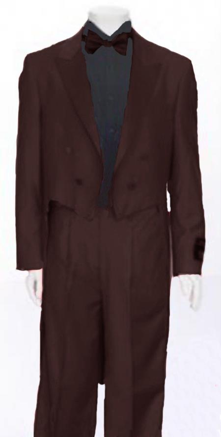 "SKU#NGQ381 Dark Brown Tail Peak Lapel Mens Tuxedo Pre Order Collection ""Delivery in 30 days"" $795"