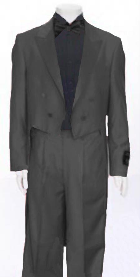 "SKU#JNF827 Dark Grey Tail Peak Lapel Mens Tuxedo Pre Order Collection ""Delivery in 30 days"" $795"