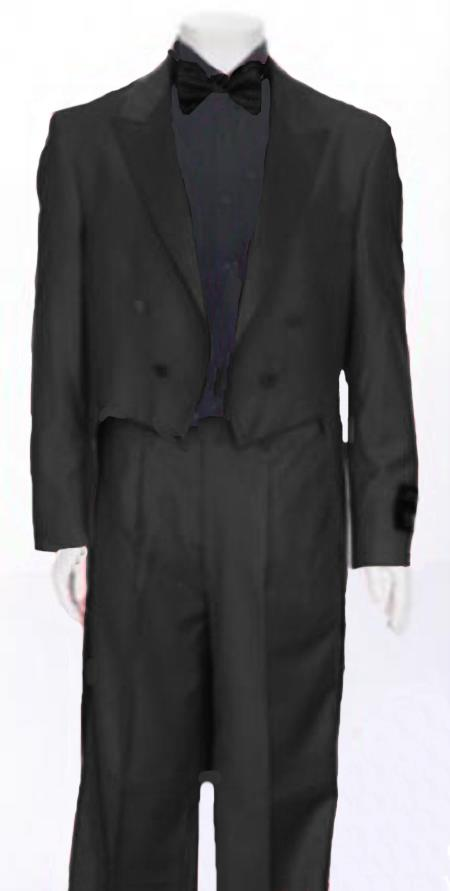 "SKU#KLR459 Charcoal Grey Tail Peak Lapel Mens Tuxedo Pre Order Collection ""Delivery in 30 days"" $795"