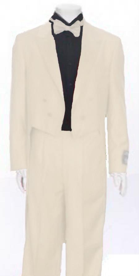 "SKU#TND830 Ivory Tail Peak Lapel Mens Tuxedo Pre Order Collection ""Delivery in 30 days"" $795"