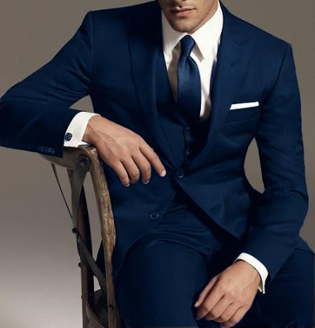 SKU#BK56 Reg:795 on sale $249 Two button Vested 3PC Wool Suit Peak Pointed English Style Lapel Navy $199
