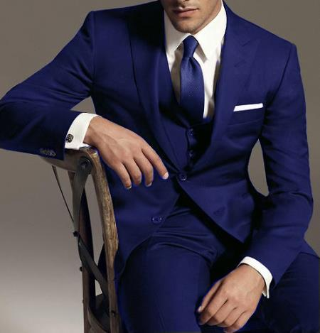 SKU#GM384 Reg:795 on sale $249 2 Btn Vested 3PC Wool Suit Peak Pointed English Style Lapel Dark Blue