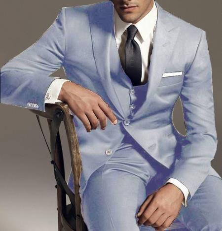 SKU#UB395 Reg:795 on sale $249 2 Button Vested 3PC Wool Suit Peak Pointed English Style Lapel Silver