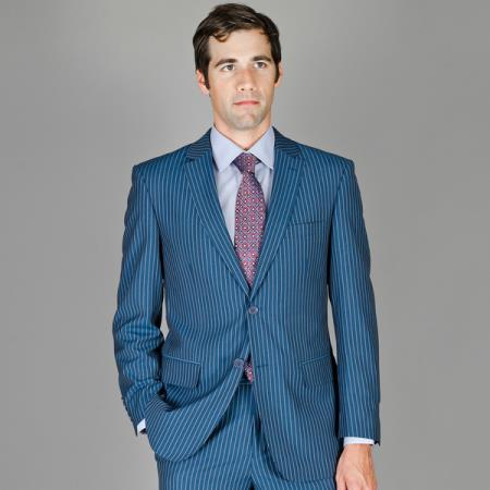 SKU#BHN56 Tapered Leg Lower rise Pants & Get skinny Mens Blue Stripe ~ Pinstripe Wool and Silk Blend Suit