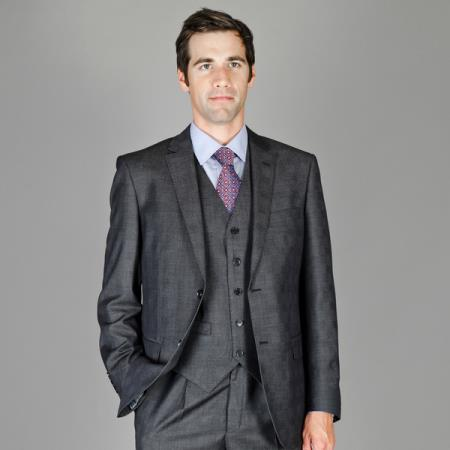 SKU#CHD91 Mens Charcoal Plaid Wool and Silk Blend Vested Suit $175