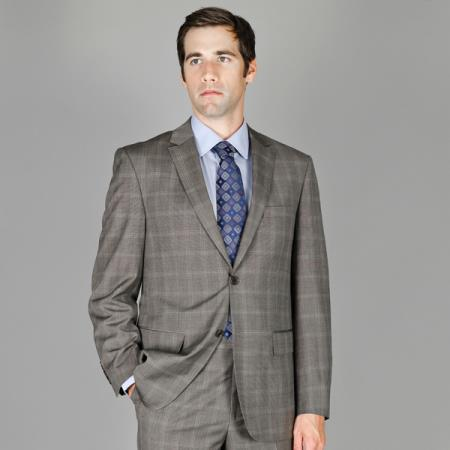 SKU#NAS87 Grey Windowpane 2-Button Wool and Silk Blend Suit $175
