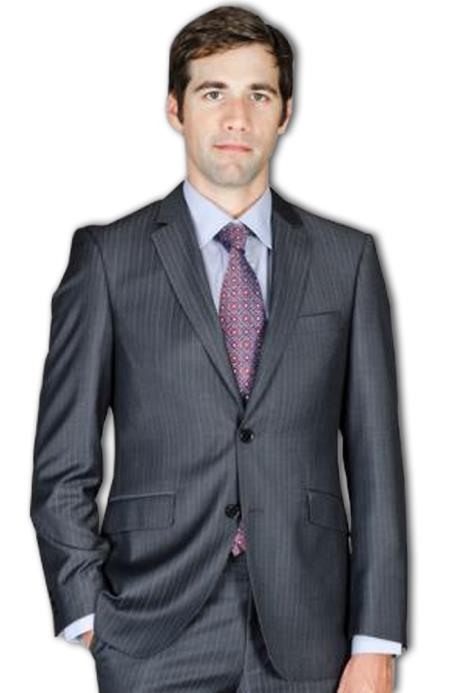 Mens Slim Fit Black Stripe ~ Pinstripe Wool and Silk Blend Suit