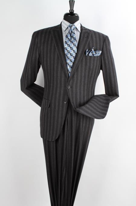 SKU#RES324 Mens 2 Piece 100% Wool Executive Dark Charcoal Suit - Narrow Peak Lapel & Side Vents $19