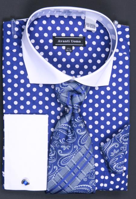 MensUSA.com 100 Cotton French Cuff Dress Shirt Tie Hanky and Cuff Links Polka Dot Blue White(Exchange only policy) at Sears.com