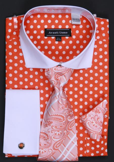 SKU#OYT63 100% Cotton French Cuff Dress Shirt, Tie, Hanky and Cuff Links Polka Dot Orange/White $65